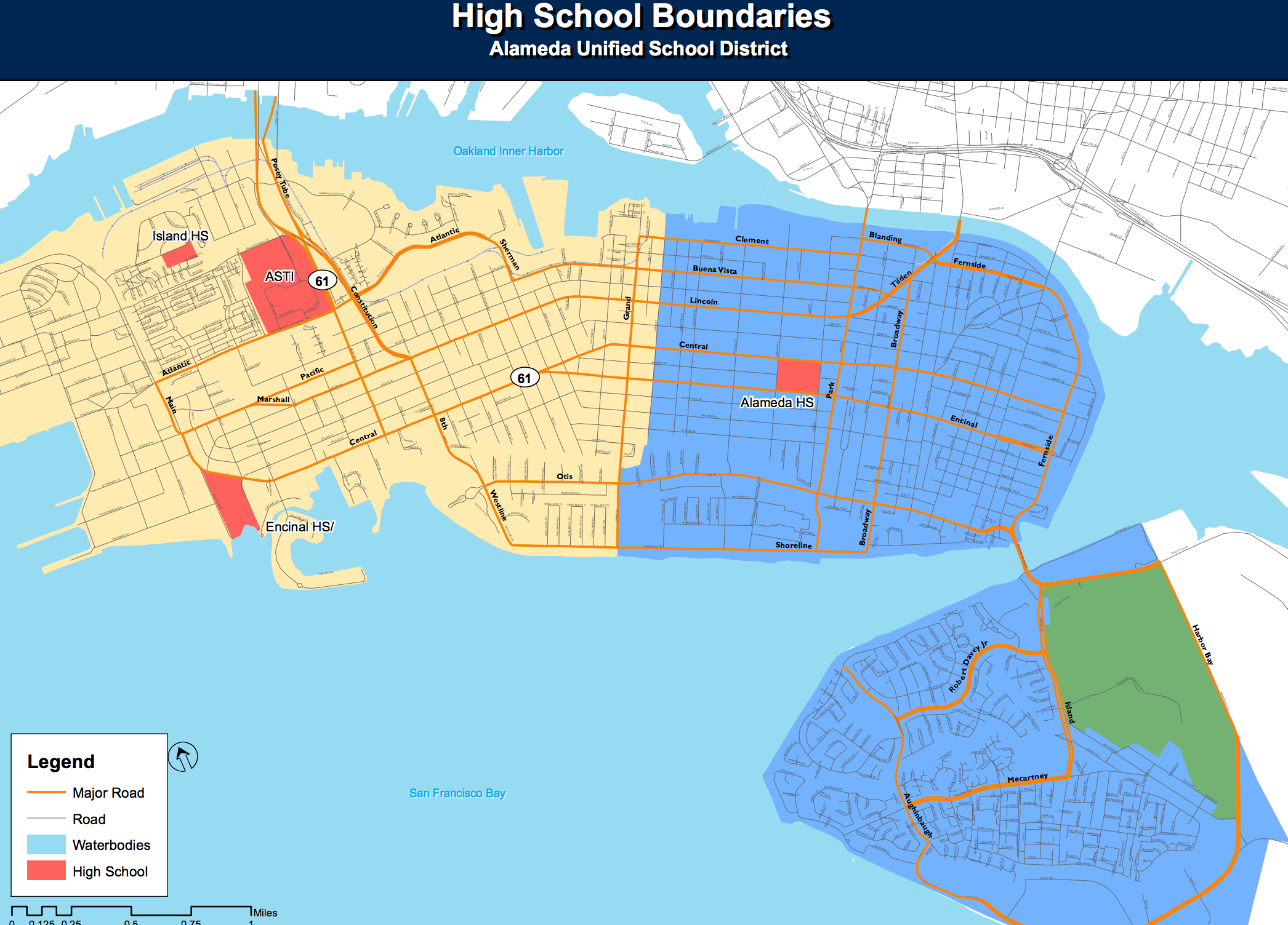 High School Boundary Map Alameda